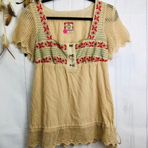 Free People Vintage Tan and Embroidered Tunic